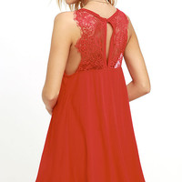 Kiss Goodnight Red Lace Dress