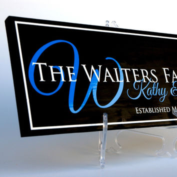 Family Established Sign, Last Name Sign in Cut Vinyl,  Solid Wood Finish