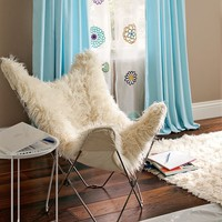 Ivory Furlicious Faux-Fur Butterfly Chair