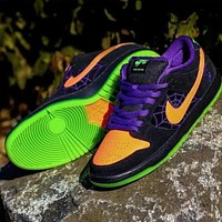 NIKE SB Dunk low pro hot sale classic color block suede low-top sneakers casual shoes Black&Purple