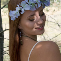 "Flower Crown - ""Sonya"" Hydrangea Crown, pastel flower headband, periwinkle bridal headpiece"