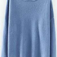 Blue Boat Neck Knitted Sweater