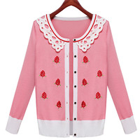 Lace Collar Rose Patterned Long Sleeve Cardigan
