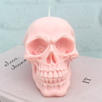 Pink Skull Candle