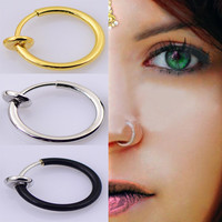 Fake Nose Ring Gold, Silver or Black For Body (Non Piercing) Clip On