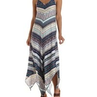 Navy Combo Strappy Handkerchief Maxi Dress by Charlotte Russe
