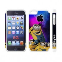 5GDCM-05W Apple iPhone 5 5G iPhone5 At&t Sprint Verizon Funny Cartoon Despicable Me Minions Hard Case Cover with eBayke Logo