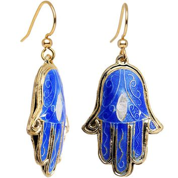 Handcrafted Gold Plated Beautiful Blue Hamsa Hand Dangle Earrings