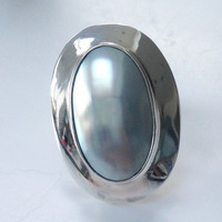 Sterling silver and mother of pearl large statement dress ring