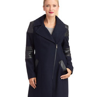 Dkny Faux Leather Accented Walker Coat