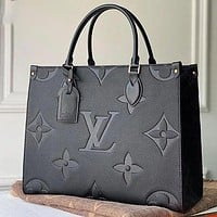 Louis Vuitton LV Pure Black Pattern Tote Bag Fashion Ladies One Shoulder Messenger Bag