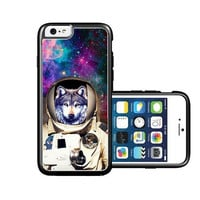 RCGrafix Brand Astranout Space Hipster Wolf iPhone 6 Case - Fits NEW Apple iPhone 6