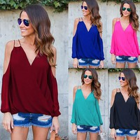 Solid Womens T Shirt Sexy Chiffon Cross V Neck Tops Short Sleeve Causal Blouse Free Shipping Plus Size Women Clothing