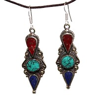 long turquoise coral Lapis Earring