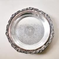 Vintage Silver Tray with Glass Pyrex Dish / Ornate Footed Tray