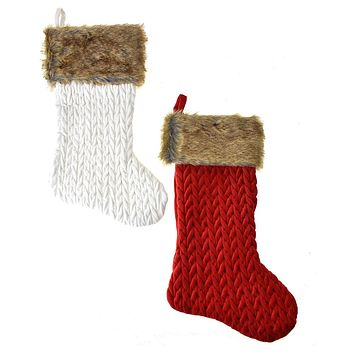 Cuffed Crochet Velvet Christmas Stockings, Red/Ivory, 20-Inch, 2-Piece