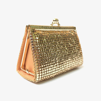 GLOMESH!!! Vintage 1970s 'Glomesh' triangular shaped gold mesh purse with original tag and box