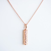 18K Rose Gold plated Filigree glass pendant chain