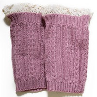 Ava Lace Accent Short Knit Leg Warmers in Dusty Pink