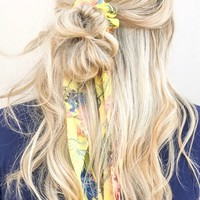 Lindsey Yellow Floral Scrunchie with Detachable Hair Scarf