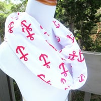 Nautical Red Anchor infinite scarf- Soft Jersey knit-ready to ship