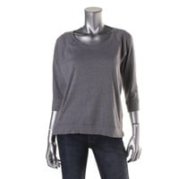 Style & Co. Womens Petites Knit Heathered Casual Top