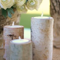 Birch Bark Candle Holders Rustic Home Decor Christmas Gift