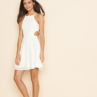 Lace Sport Neck Fit and Flare Dress