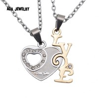 """2 pcs/lot,Fashion Valentines Gift Crystal Heart  """"I Love You Letters Pendant Necklace For Women And Men Chain Couple Necklaces"""