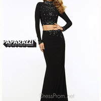 Two Piece High Neck With Open Back Paparazzi Prom Dress By Mori Lee 97072