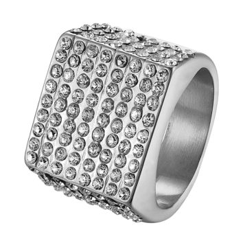 Stainless Steel Silver Tone Micropave CZ Bling Bling Ring Size7-11