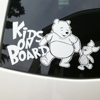 Kids on board Winnie the pooh vinyl decal sticker piglet window bumper bench car truck graphic family warning pregnant shower gift idea baby