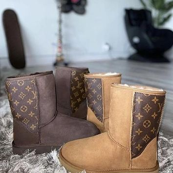 UGG x Louis Vuitton LV fashion men's and women's stitching leather snow boots non-slip warm snow shoes