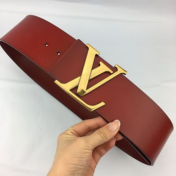 Inseva Louis Vuitton LV new women's simple and versatile fashion smooth buckle belt red