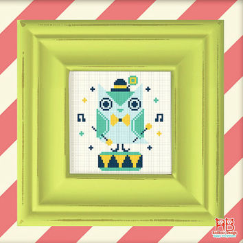 Cute Retro cross stitch pattern - Green Owl Play Toy Drum -Xstitch Instant download - Kawaii green owl play music Woodland Animal heart love