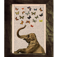 Elephant in love counting butterflies book print - Elephant in love - collage Printed on vintage dictionary book page