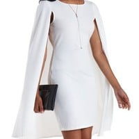 White Bodycon Cape Dress by Charlotte Russe