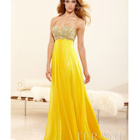 Yellow Chiffon & Crystal Encrusted Strapless Sweetheart Gown