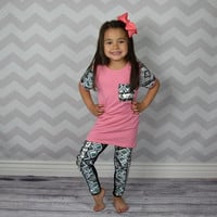 PINK AND CORAL SEQUIN SET UPSCALE BOUTIQUE GIRLS CLOTHING (BOW NOT INCLUDED)