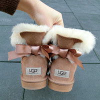 """UGG"" Women male Fashion Wool Snow Boots A bowknot Sand white"