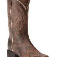 Ariat Women's On Point Sassy Brown Chevron Square Toe Western Boots