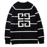 Givenchy sells casual hoodies with large LOGO and fashion stripes Black