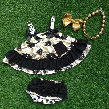 Girls Black and Gold Dress Headband Short and Necklace Set