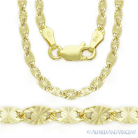 925 Sterling Silver 14k Yellow Gold GP 3mm Valentino Link Italian Chain Necklace