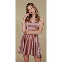 Short Criss-Cross Strap Back Cocktail Homecoming Dress Tan