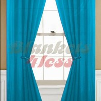 """Awad Home Fashion 1 Panel Solid Neon Turquoise Sheer Voile Window Curtain Treatment Drape 55"""" X 84"""""""