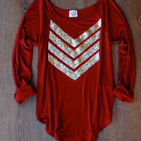 Gold Sequin Chevron Wine Slouchy Tunic