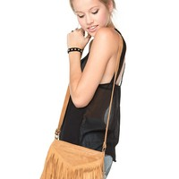 Brandy ♥ Melville |  V-Fringe Brown Purse