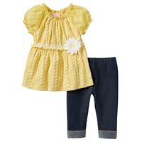 Little Lass Daisy Eyelet Tunic & Capri Jeggings Set - Baby Girl, Size: