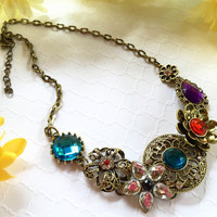 Brooch Style Statement Necklace - Filigree Medallion Necklace - Antiqued Gold Statement Necklace - Pin Style Necklace